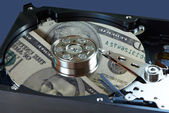 Hard drive and dollars — Stockfoto