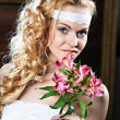 Portrait beautiful bride with bouquet — Stock Photo