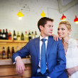Bride and groom around the bar — Stock Photo