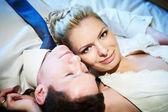 Happy bride and groom — Fotografia Stock