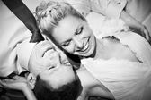 Happy bride and groom black and white — Stock Photo