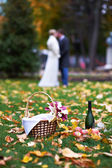 Happy bride and groom in park on picnic — Stock Photo