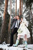 Gafas de novios con champaña en bosque de invierno — Foto de Stock