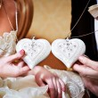 Heart-shaped mascots the bride and groom — Stock Photo