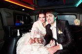 Bride and groom with champagne — Foto de Stock
