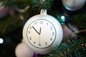 Christmas ball with clock face — Stock Photo