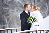 Romantic kiss happy bride and groom on winter day — Stok fotoğraf
