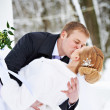 Romantic kiss happy bride and groom — Stock Photo #37393863