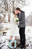 Kiss bride and groom in winter landscape — Stock Photo