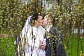 Baiser romantique mariée et le marié dans le parc — Photo