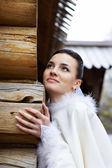 Beautiful bride in wedding walk — Stock Photo