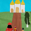 Foto de Stock  : Children applique with church and family