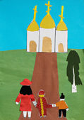 Children applique with church and family — Stock Photo
