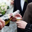 Stock Photo: Bottle of champagne and a glass