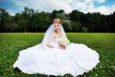 Luxury bride on the grass — Stock Photo
