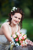 Romantic happy bride — Stock Photo