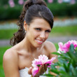 Stock Photo: Beautiful bride with flowers