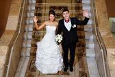 Fun bride and groom — Stock Photo