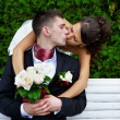 Stock Photo: Romantic kiss beloved bride and groom