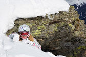 Girl in helmet on mountains ski resort — Stock Photo