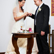 Happy bride wears golden ring to the groom — Stock Photo