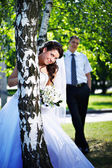 Bride and groom at the birches — Stock Photo