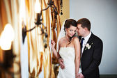 Elegant bride and groom in wedding day — Stock Photo
