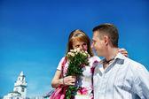 Romantic meeting guys and girls — Stock Photo