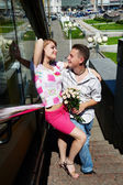 Young happy man and woman at romantic walk — Foto Stock