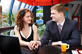 Young man and woman looking affectionately into each others eyes — Stock Photo