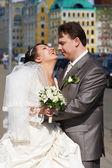 Happy couple bride and groom — Stock Photo