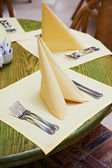 Table at summer cafe — Stock Photo