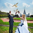 Stock Photo: Newlyweds release pigeons