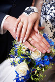 Hands with wedding gold rings — Stock Photo