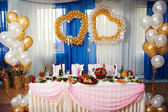 Wedding table for the bride and groom — Stock Photo