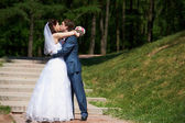Happy Bride and groom kissing — Stock Photo