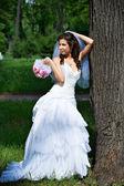 Elegant bride standing about tree — Stock Photo