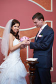 エレガントな新郎幸せな花嫁の結婚指輪を着ています。 — ストック写真