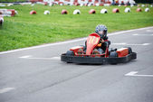 Little karting racer on the track — 图库照片