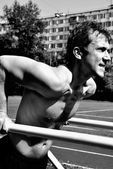 Chest dip on athletic workout — Foto Stock