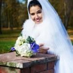美丽的新娘在秋天公园 — 图库照片 #43883251