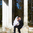 Happy bride and groom in autumn park — Stock Photo #43883741
