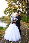 Beauty bride and groom in yellow autumn park — 图库照片