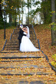 Happy bride and groom in yellow autumn foliage — Stock Photo