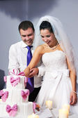 Bride and groom cuts the wedding cake — Stock Photo