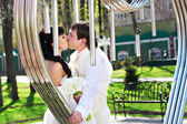 Romantic kiss bride and groom about art ironwork — Stock Photo