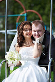 Happy bride and groom in wedding day — Stock Photo