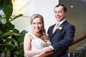 Portrait of happy bride and groom — Photo