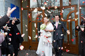 Konuklar ve uçan yaprakları ile mutlu yeni evliler — Stok fotoğraf