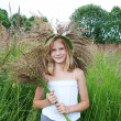 Girl in a wreath of grass with spikelets — Stock Photo #51519573